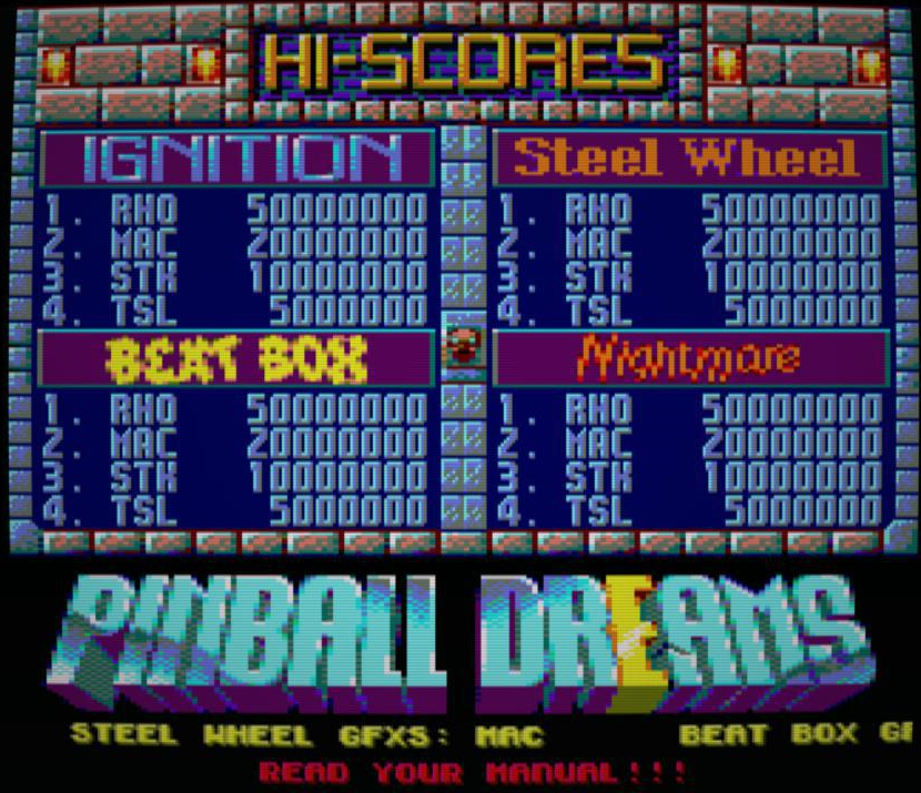 Pinball Dreams, tabla de puntuaciones