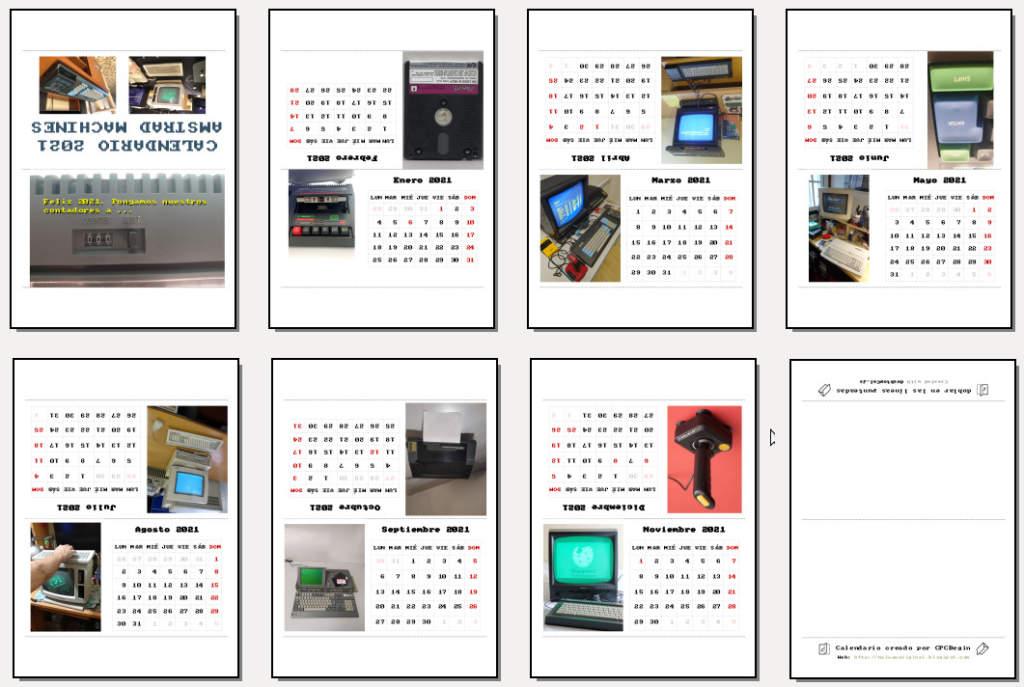 Calendario Amstrad Machines 2021